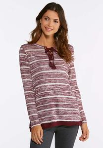 Wine Stripe Layered Lace-Up Top