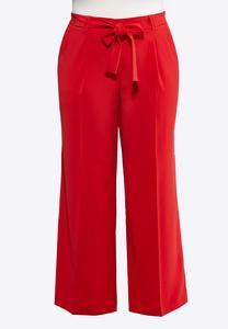 Plus Size Wide Leg Tie Front Red Pants