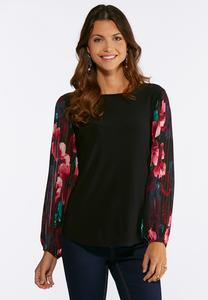 Pleated Floral Sleeve Top