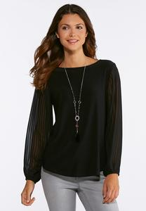 Plus Size Solid Pleated Sleeve Top