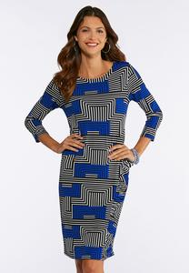 Plus Size Puff Geo Dress