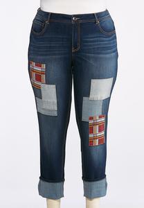 Plus Size Cuffed Patchwork Jeans
