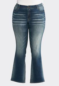 Plus Size Dark Whiskered Jeans