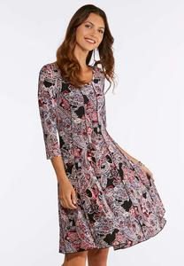 Plus Size Seamed Puff Floral Dress