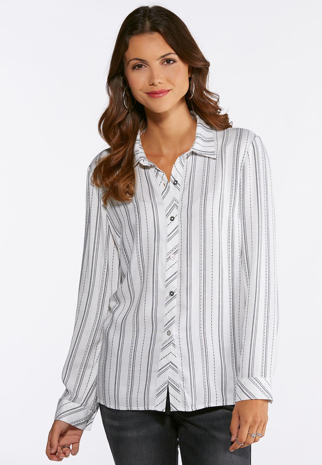 Black And White Striped Boyfriend Shirt Shirts Blouses Cato Fashions
