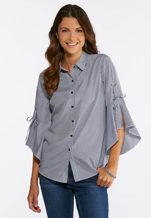 Plus Size Striped Bell Sleeve Shirt