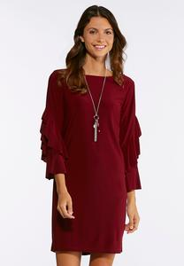 Ruffled Sleeve Sheath Dress