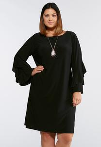 Plus Size Ruffled Sleeve Sheath Dress