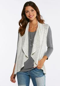 Plus Size Lace Trim Vest