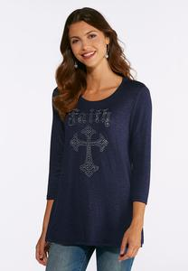Rhinestone Faith Swing Top