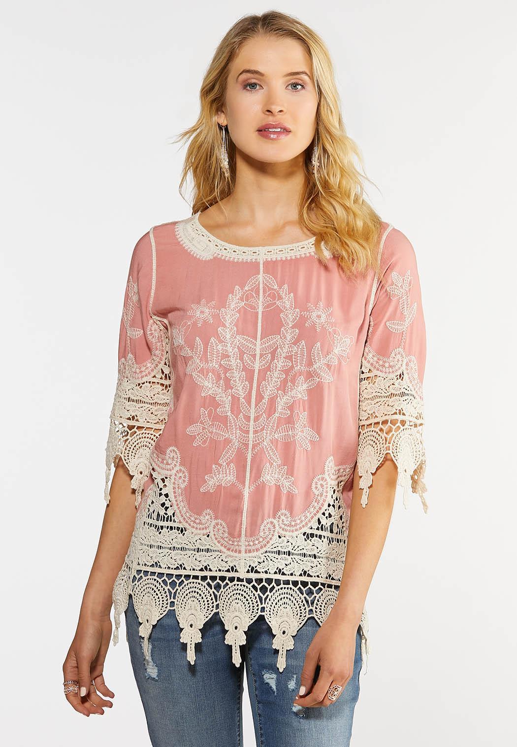 Plus Size Crochet Embroidered Tunic Tops Cato Fashions