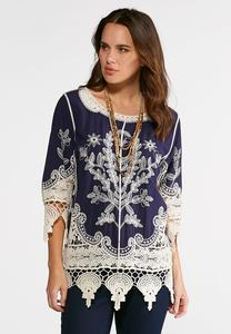 Embroidered Lace Trim Tunic
