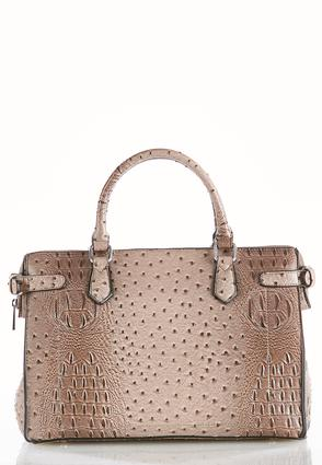 Faux Ostrich Oversized Satchel