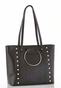 Pearl Trim Metal Ring Tote