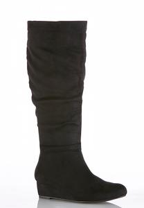 Wide Width Faux Suede Wedge Boots