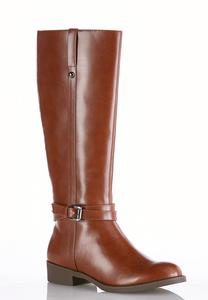 Stretch Calf Buckle Riding Boots