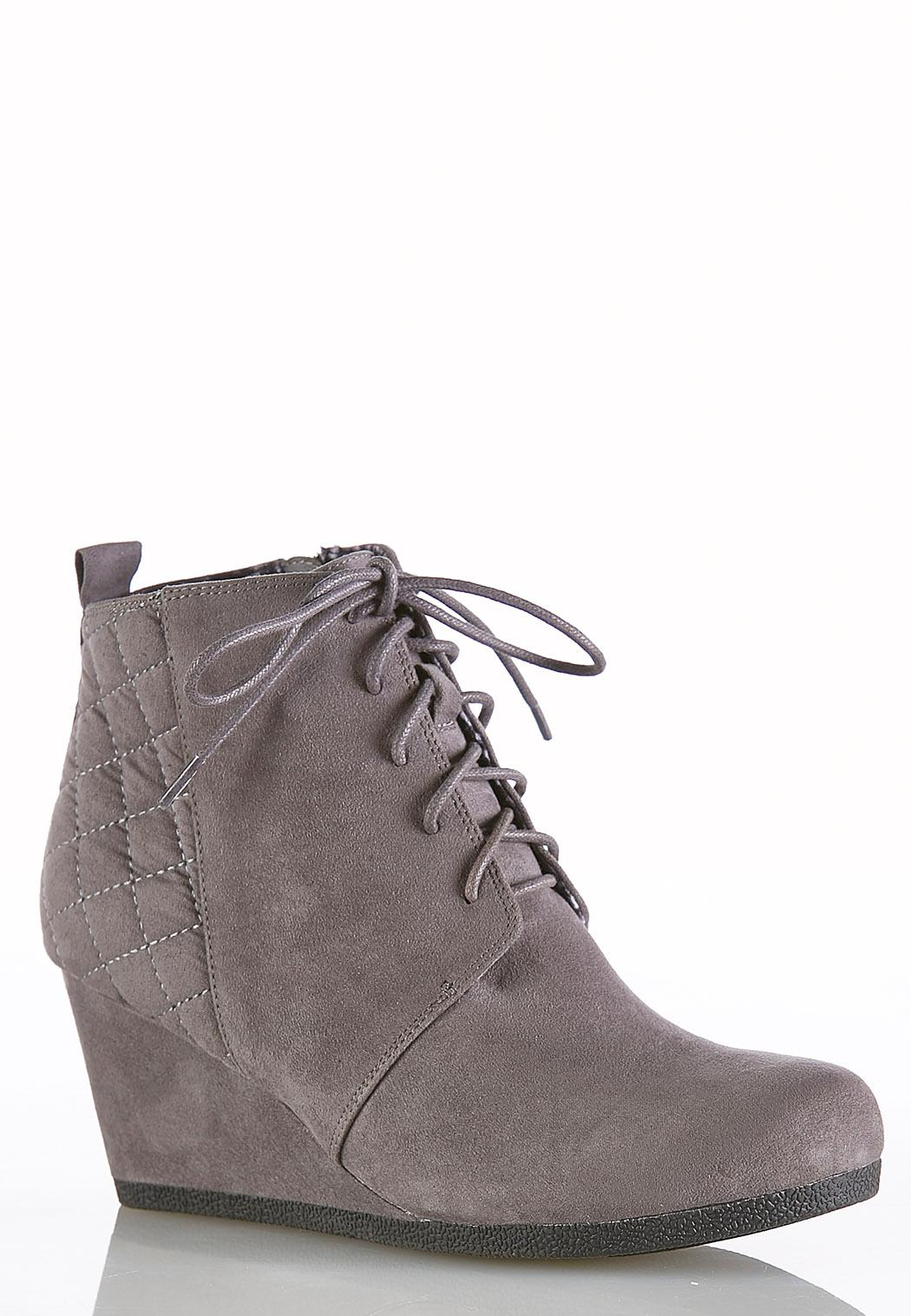 b4d5839c7f8 Lace Up Faux Suede Wedge Booties Ankle   Shooties Cato Fashions