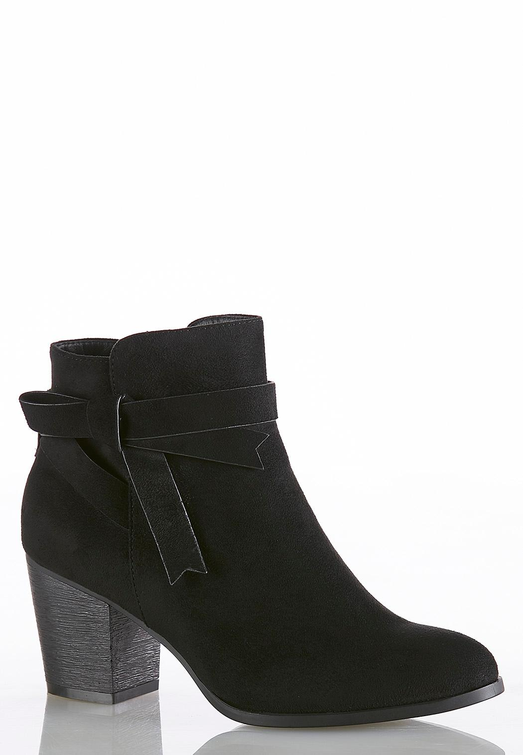 Side Tie Faux Suede Ankle Boots