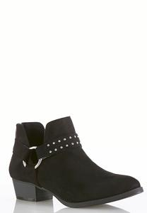 Wide Width Dip Side Hardware Ankle Boots