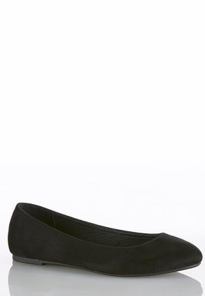 Faux Suede Round Toe Flats
