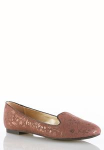 Shimmer Faux Suede Smoking Flats
