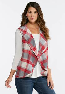 Gray And Red Plaid Vest