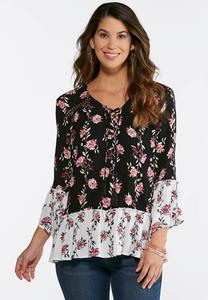 Plus Size Two-Toned Floral Poet Top