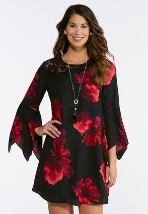 Floral And Lace Swing Dress