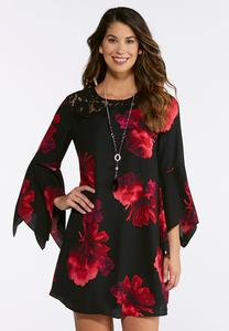 Plus Size Floral And Lace Swing Dress