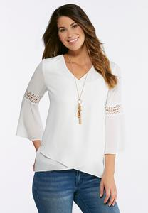 Plus Size Solid Layered Hem Top