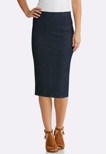 Plus Size Stretch Denim Woven Skirt