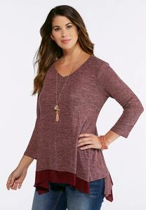 Plus Size Layered Hacci Top