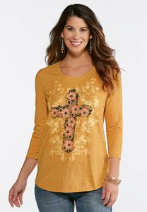 Golden Flower Cross Top