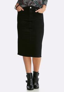 Plus Size Black Denim Skirt