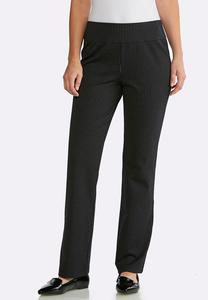 Petite Striped Pull-On Trouser Pants
