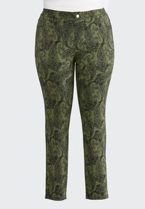 Plus Size Green Paisley Skinny Pants