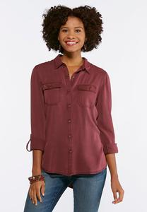 Plus Size Muted Button Down Shirt