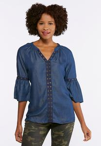 Plus Size Grommet Trim Peasant Top