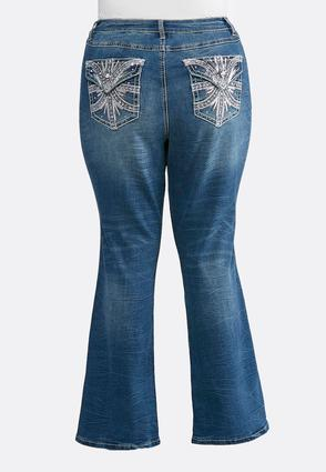 Plus Size Embellished Pocket Bootcut Jeans