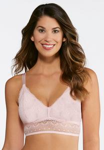 Plus Size Allover Lace Pink Bra