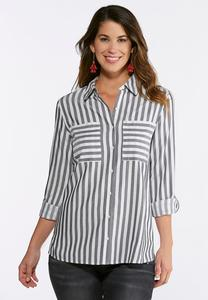 Plus Size Gray Striped Button Down Shirt