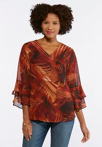 Plus Size Wispy Print Ruffled Top