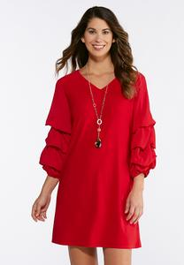 Tiered Bubble Sleeve Shift Dress