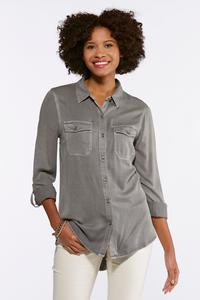 Plus Size Gray Soft Button Down Shirt