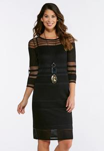 Plus Size Black Illusion Midi Dress