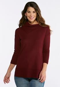 Plus Size Wine Split Neck Tunic Sweater