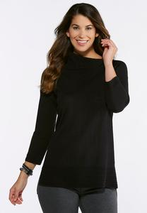 Plus Size Black Split Neck Tunic