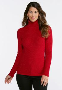 Plus Size Lurex Turtleneck Sweater