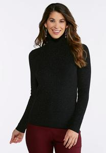 Plus Size Black Lurex Turtleneck Sweater