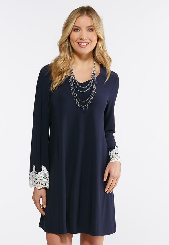 0c06d503fc044 Crochet Trim Swing Dress A-line & Swing Cato Fashions